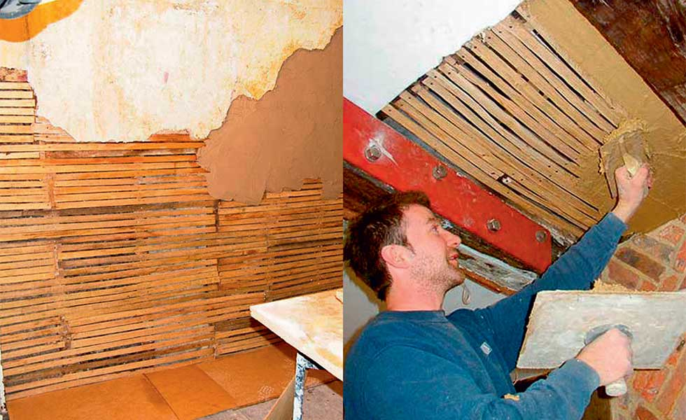 Plastering over laths on walls and ceilings