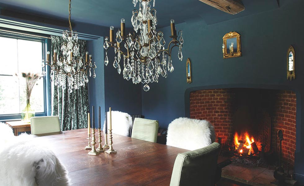 dramatic dining room painted in farrow & Ball Hague Blue