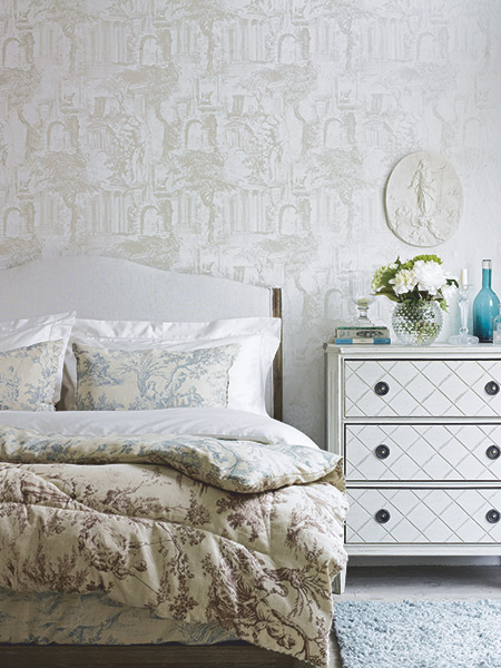vintage romantic bedroom with toile prints