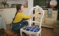 wet distressed paint technique demonstrated on a chair