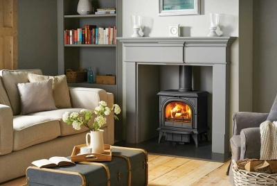 Huntingdon 30 matt black with Clear door in a Grey Pembroke Mantel