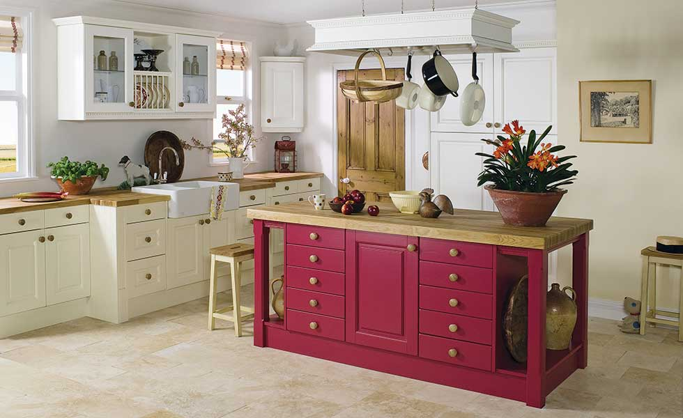 Crown Imperial Ashton kitchen with bold red painted island unit