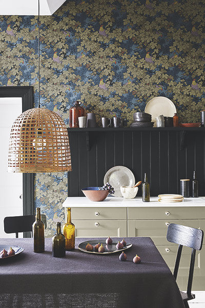 Little Greene arts and crafts style wallpaper n kitchen