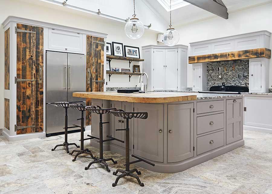 Main Company bespoke redwood and oak industrial style kitchen