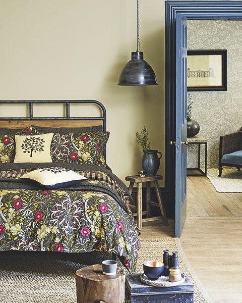 Morris and co seaweed wallpaper in bedroom