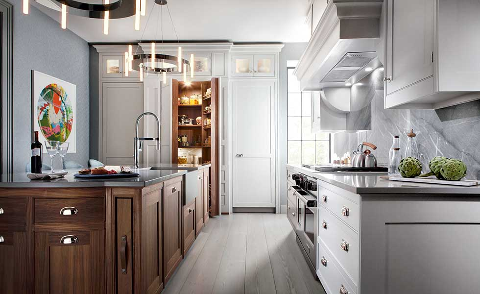 Smallbone of Devizes bespoke Original kitchen with a mix of handpainted and natural wood finishes