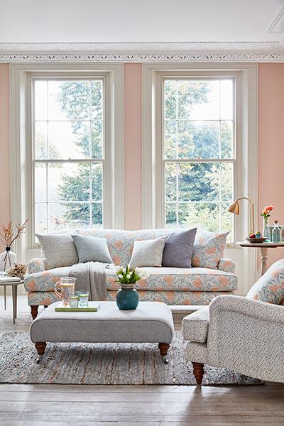 Sofa.com arts and crafts botanical fabric on snowdrop sofa