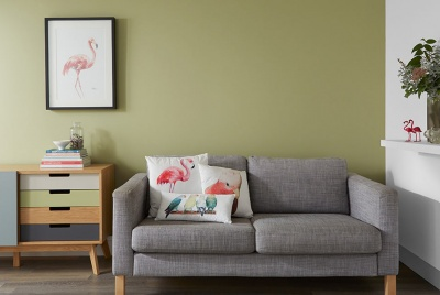 crown paint Eco Ensemble – a calming green, Alliance Matt Emulsion with Clay White Matt Emulsion