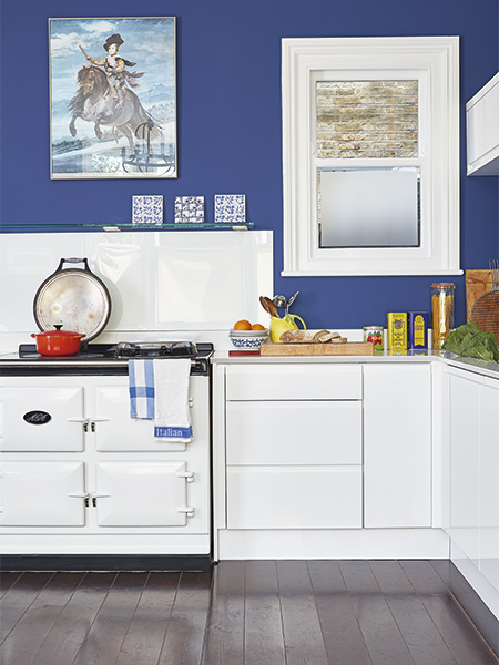 white aga in kitchen with blue walls in Victorian home