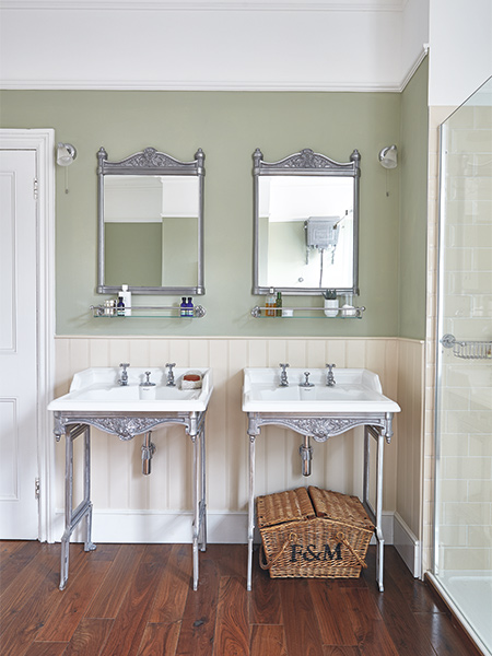 twin period style basins in a Victorian home