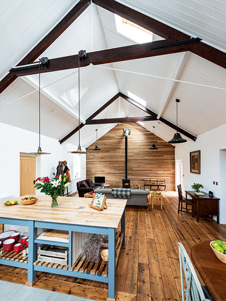 Open plan living in converted tin chapel