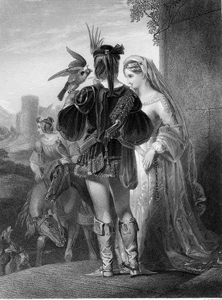 falconry noble tudor man and lady