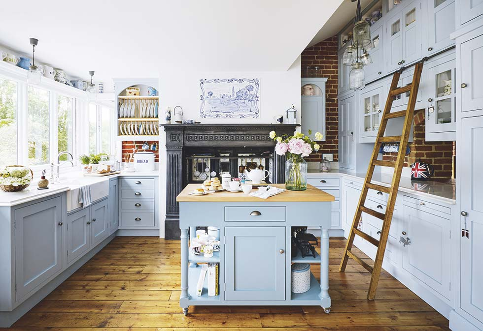 converted watermill shaker kitchen blue with island
