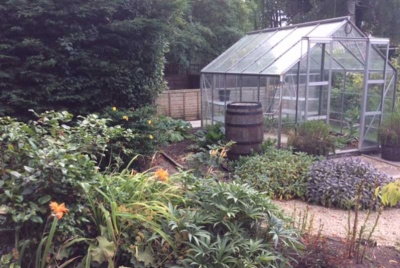 greenhouse in garden of listed Georgian property