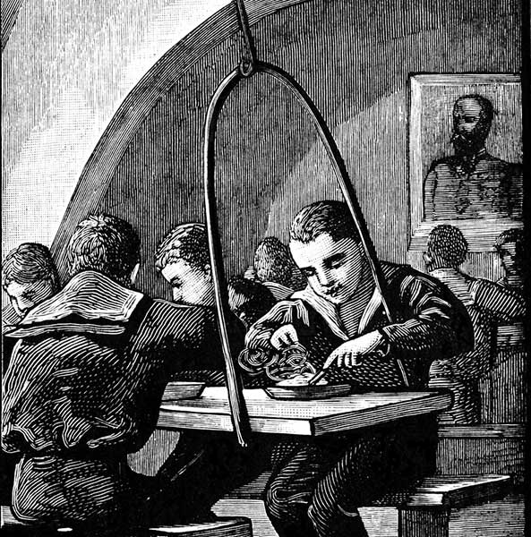 Victorian engraving of young sailors eating