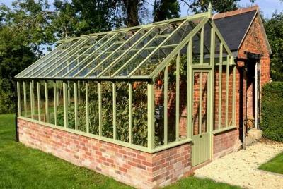 white cottage edwardian greenhouse green