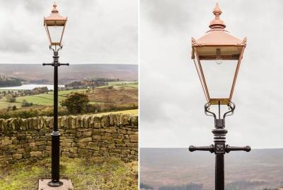 Alveley Victorian Lamp Post & Large Square Copper Lantern •