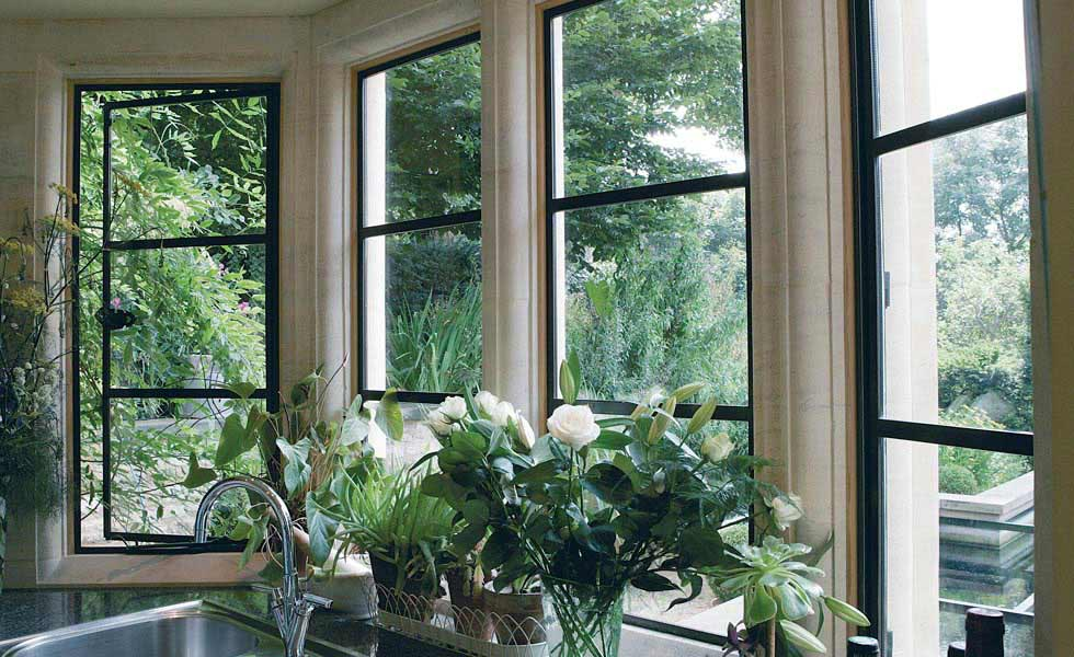 Architectural Bronze Casements windows flowers