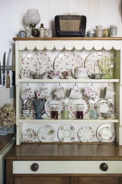 Country cottage kitchen dress with vintage china