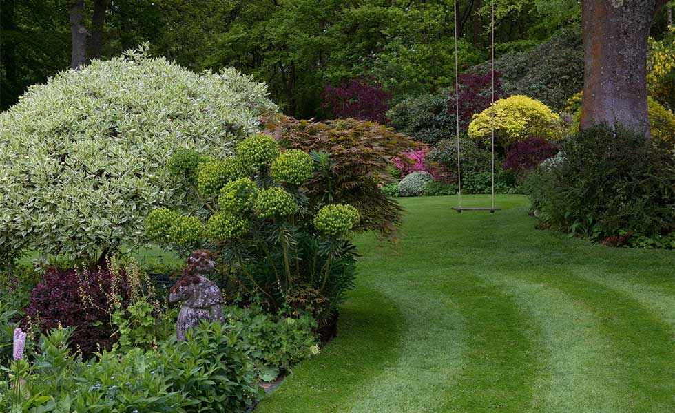 garden with immaculate lawns