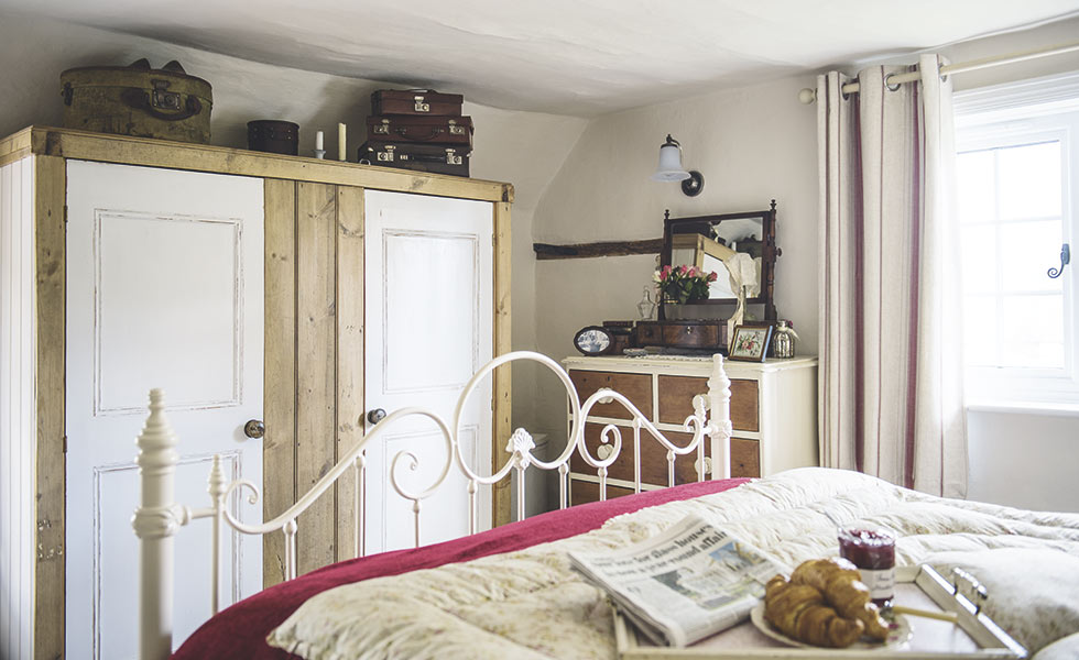 traditional country cottage bedroom storage