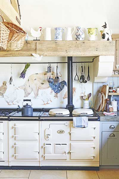 Aga in country kitchen of a farmhouse