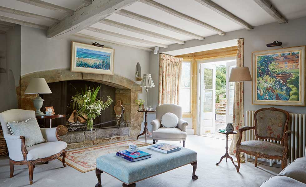 living room with light oak beams in a 18th-century farmhouse