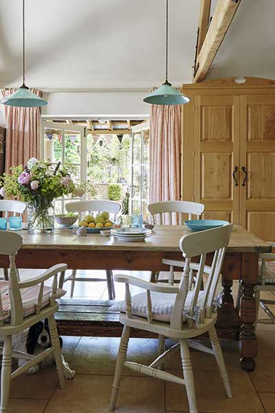 dining table in a country kitchen