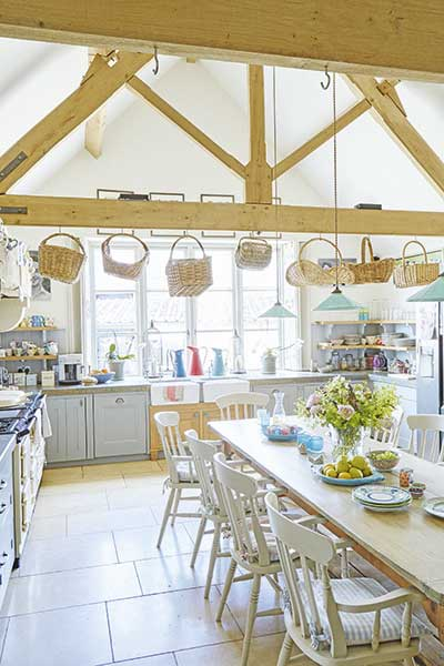 country kitchen with exposed beams in a farmhouse