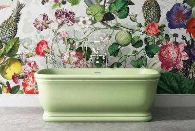 Devon & Devon Botanical wallpaper and green bath
