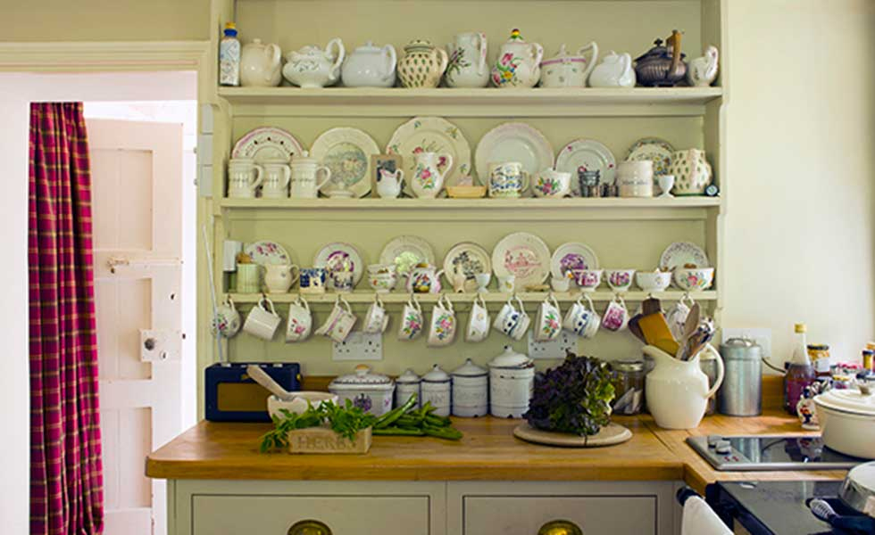kitchen dresser with vintage china