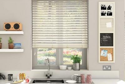 blinds 2go Wooden Blinds high gloss cream