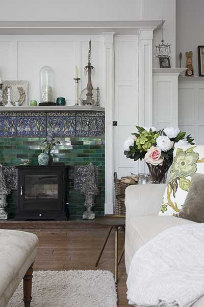 Fireplace with arts and crafts tiles