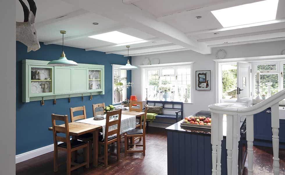 blue painted kitchen in arts and crafts home