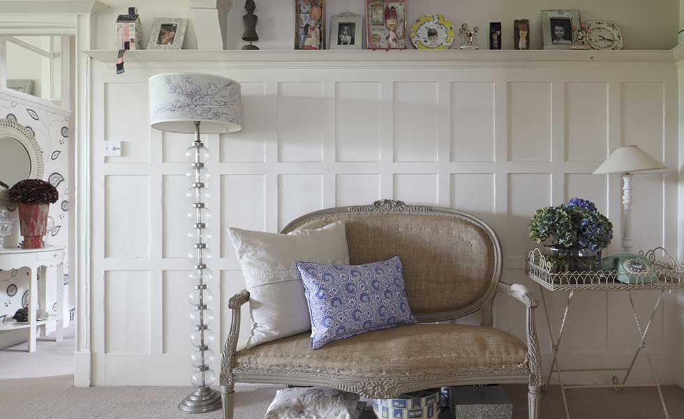 antique french sofa white wooden panels
