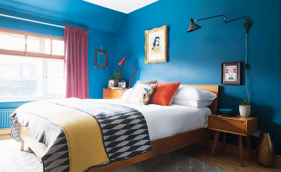 blue-bedroom-with-valspar-midtown-magic-paint-and-midcentury-style-bed