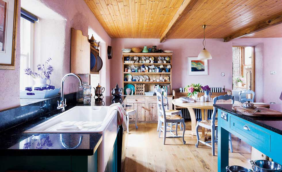 pink country kitchen