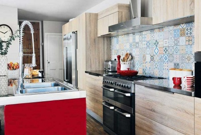 colourful tiles in a kitchen