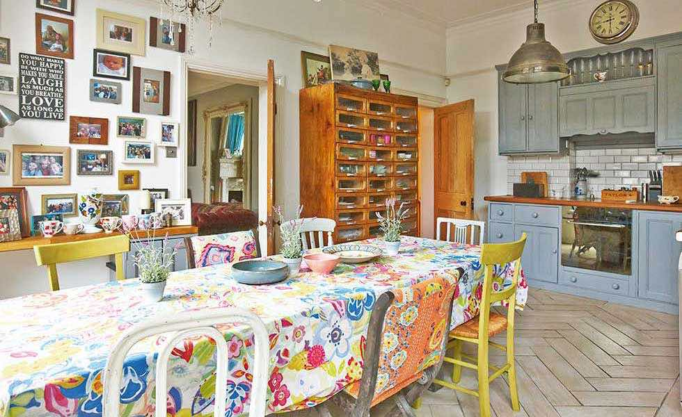 colourfull patterned table cloth in a kitchen
