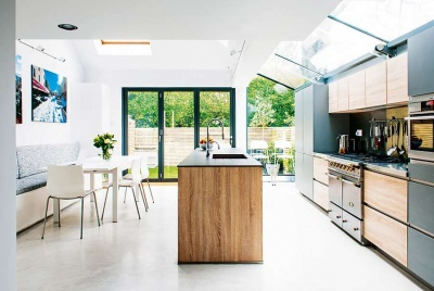 glass roofed kitchen extension