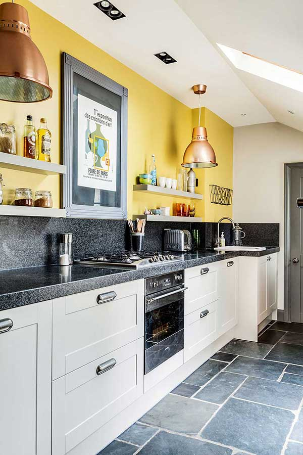 bright yellow walls in a georgian kitchen