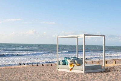 get laid bed beach white sand bed four poster