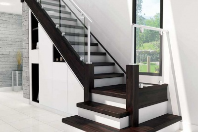 black and white staircase with storage