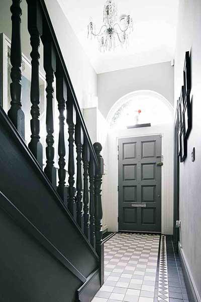 dark monochrome decorating ideas for a hallway