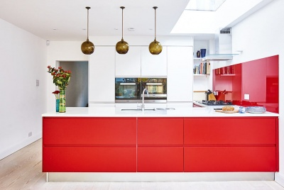 mordern red kitchen space
