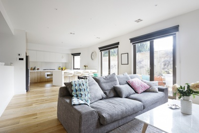 Open plan living room kitchen contemporary home