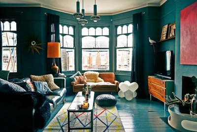 Stunning dark grey living room