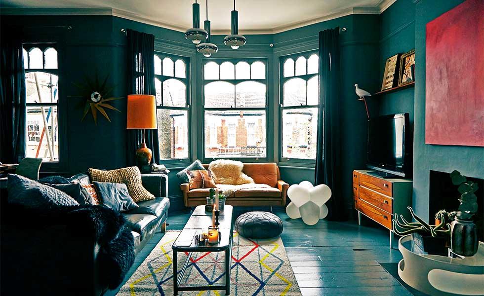 Stunning dark grey living room