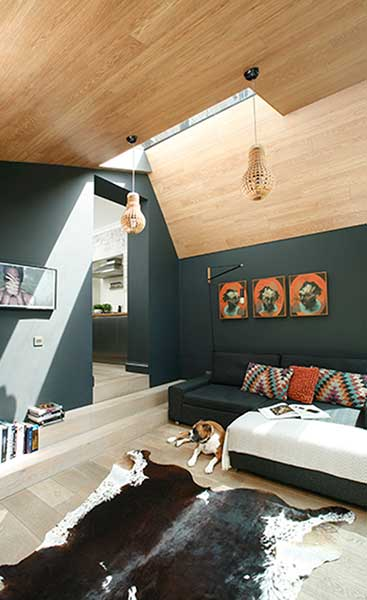 dark blue living room with wooden ceiling