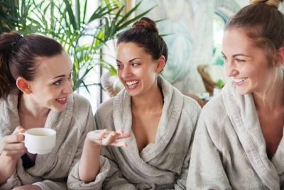 three ladies steam room spa